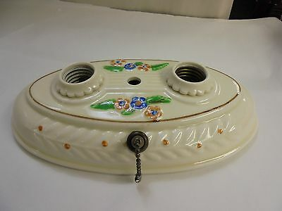Vintage Art Deco Porcelian Ceiling Two Light Fixtures Base or Wall Sconce Flower