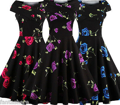 Jive Swing 50s 60s Retro Housewife Pinup Vintage Rockabilly Party Evening Dress