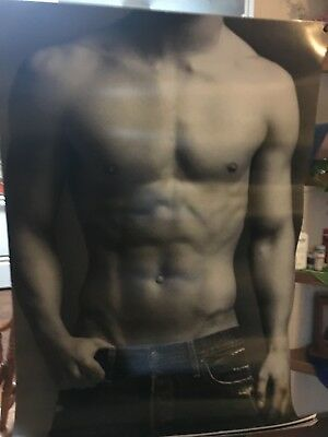 Sexy Abercrombie & Fitch Store Display Posters Male 4ft x 2.6ft. RARE B/W Canvas