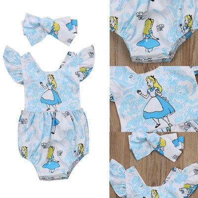 US Stock Toddler Baby Girls Romper Bodysuit Jumpsuit Clothes Cotton Blue Outfits