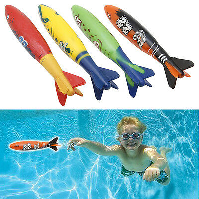 4Pcs Underwater Torpedo Rocket Swimming Pool Toy Swim Dive Stick Game Pro HOT