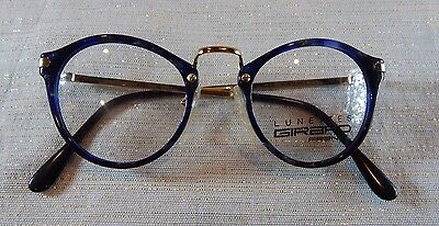 Vintage Girard 4330 Gold Blue Marble 48 Combo Eyeglass Frame New/Old Stock