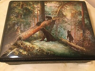 Russian Lacquer Fedoskino 4 Bears Mother & Cubs in Forest Kusnetsov Anatoliy