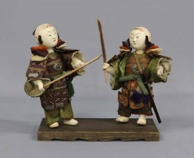 1855 Edo period Water pull  Palace dolls Warrior standing 2 sets Antique Japan
