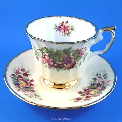 Pretty Fruit on Pale Yellow Background Elizabethan Tea Cup and Saucer Set
