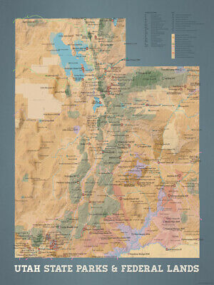 Utah State Parks & Federal Lands Map 18x24 Poster (Natural Earth) #547