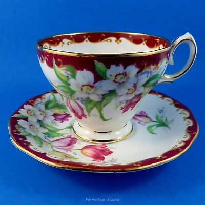 Bright Red Border Narcissus Demitasse Tea Cup and Saucer Set