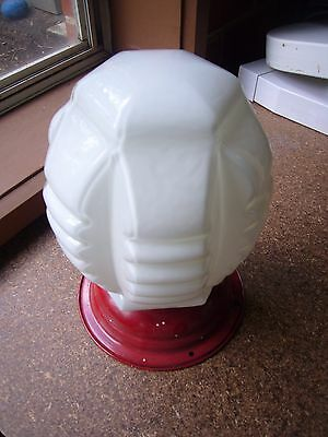 Milk white glass hexagonal art deco ceiling light