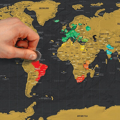 Deluxe Travel Edition Scratch Off World Map Poster Personalized Journal Log YG