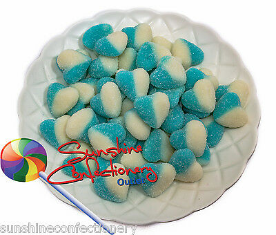 Gluten Free Sour Blue & White Hearts -1kg - Gummi Baby Shower Lollies