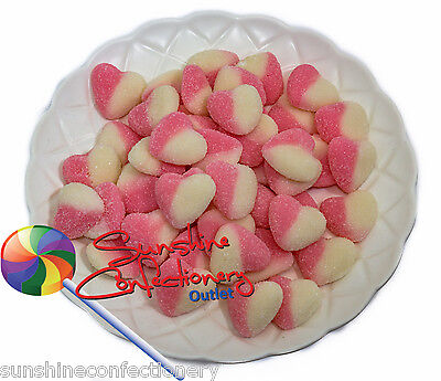 Gluten Free Sour Pink & White Hearts - 1kg - Gummi Baby Shower Lollies