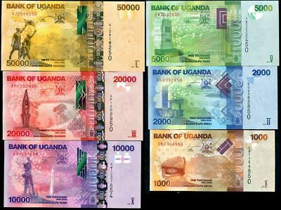 Uganda Set 6 Unc 1000 2000 5000 10000 20000 50000 Shillings 2013 2015 New Date