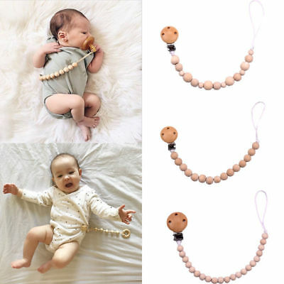 Wooden Beaded Pacifier Holder Clip Nipple Teether Dummy Holder Chain for .Baby