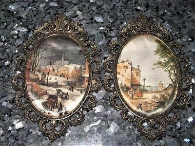 Lovely Pair Of Vintage Brass Frames / Silk Pictures / India - Good Cond For Age
