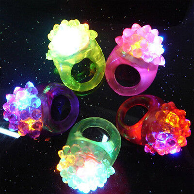 3 Light-Up Jelly Bumpy Rings Flashing LED Bubble Party Rave Favors Blinking Toy.