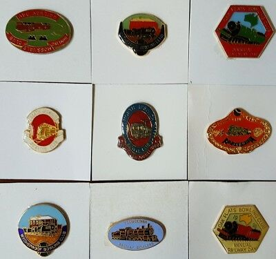Bulk Lot BOWLING Club BADGES x 9 Featuring RAILWAYS TRAINS No Clasps