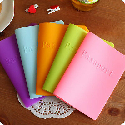 Waterproof Silicone Passport Cover Case Ticket Holder Sleeve Storage Bag Candy .