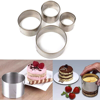 4X Round Circle Metal Cake Decorating Cutter Fondant Pastry SugarCraft Tool New.
