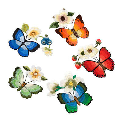 Flowers Butterfly Collar Sew Patch Applique Badge Embroidered Fabric Sticker Pro