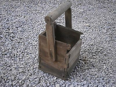 Old Rare Antique Wooden Box For Cutlery For Wall With Dark Patina