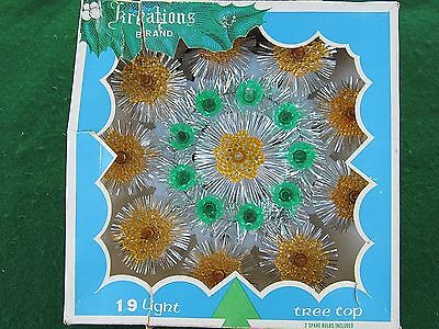 Vintage Orange Green Melted Plastic & Tinsel Christmas Tree Topper by Kreations