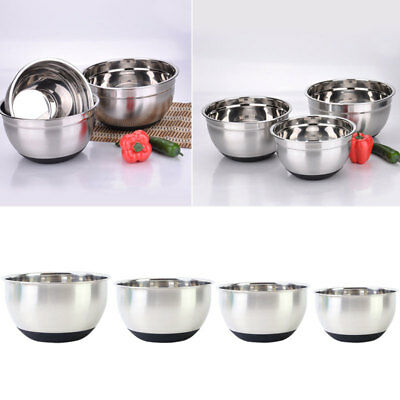 Stainless Steel Mixing Bowls in 4 Sizes Making Cake Bread Dough Sauces Silicone.