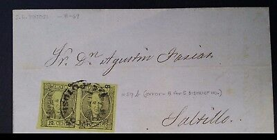RARE 1869 Mexico Folded Letter ties 2 x 12c Miguel Hidalgo stamps