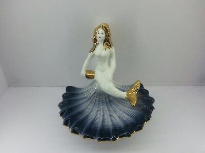 Beautiful Gold Tipped Mermaid on Shell Pin Dish or Ashtray? Made in Italy