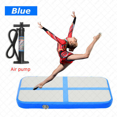 Inflatable Gymnastics Cheerleading Air Track Floor Tumbling Gym Mat + Pump Blue