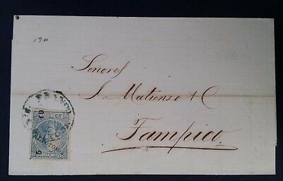 RARE 1869 Mexico Folded Letter ties 25c blue Miguel Hidalgo stamp