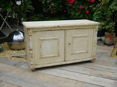 Old Antique Victorian Orig. Painted Pine Cupboard/cabinet/low Sideboard/tv Stand