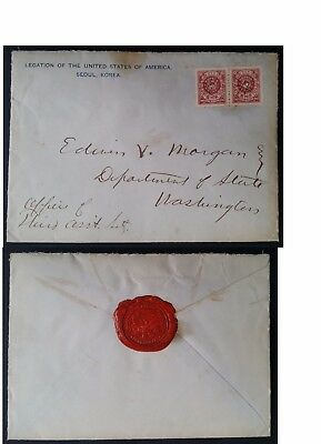 RARE c. 1900 Korea Legation of the USA Cover ties 2 x 20Ch stamps with red seal