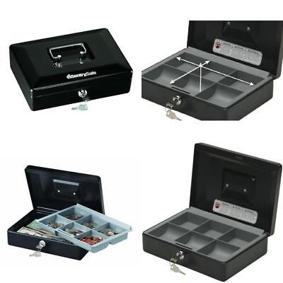 Cash File Box Safe With Money Tray Security Protection Locking Chest Small Black