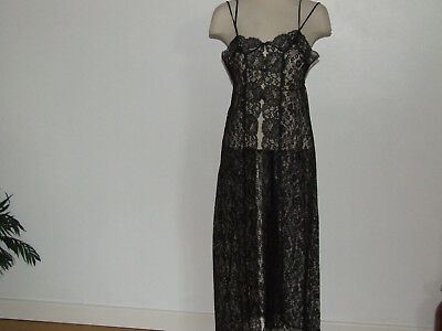 """""""Saxon Lingerie"""" VINTAGE NIGHTDRESS SHEER BLACK LACE STRAPPY&BUTTON DITA FAB&WOW"""