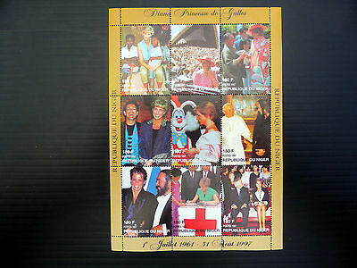 NIGER Wholesale 1997 Diana Sheetlet of 9 with Celebrities x 50 SALE PRICE FP1083