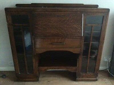 Antique old vintage desk bookcase display cabinet upcycle project
