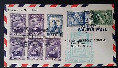 SCARCE 1941 Portuguese Guinea 1st Flight Bolama to San Juan Cover ties 8 stamps