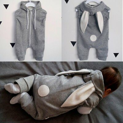 Newborn Infant Baby Boys Girls Romper Hooded Jumpsuit Bodysuit Outfits Clothes