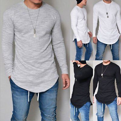 Fashion Men's Tee Shirt Slim Fit O Neck Long Sleeve Muscle Casual Tops T Shirts