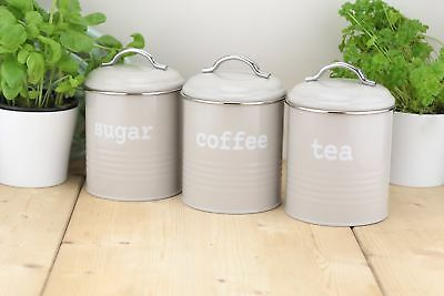 Set of 3 Airtight Round Tea Sugar and Coffee Storage Canister Jars, Grey