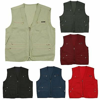 Mens Sleeveless Utility Multi Pocket Zip Hunting Fishing Climing Jacket Top Vest