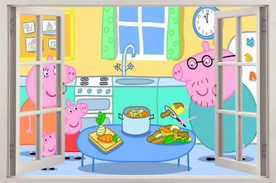 Peppa Pig 3D Window Decal Wall Sticker Home Decor Art Mural Kids J632