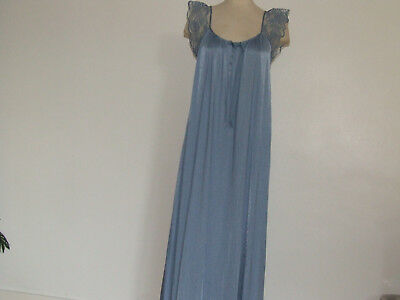 M&s Vintage Nightdress Silky Sultry Nylon Steel Blue&lace&ribbon Swirling Flare