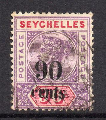 Seychelles 90 Cent on 96 Cent Stamp c1893 Used