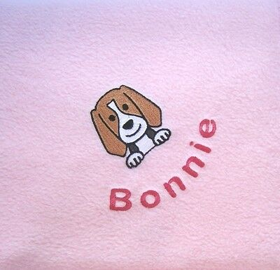 BEAGLE Embroidered Fleece Dog Blanket  - 16 Colours Available