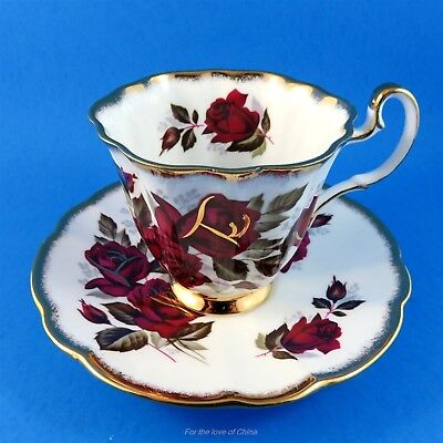 Gorgeous Deep Red Roses & Gold Royal Adderley Tea Cup and Saucer Set