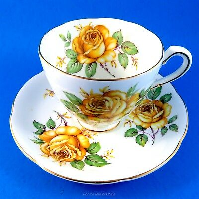 Striking Yellow Roses Adderley Tea Cup and Saucer Set