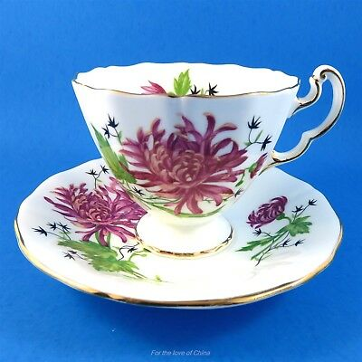 Pretty Pink Chrysanthemum Adderley Tea Cup and Saucer Set