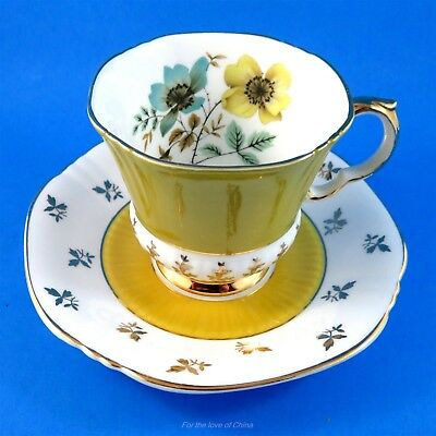 Lovely Blue & Yellow Floral Royal Adderley Tea Cup and Saucer Set