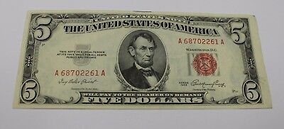 1953 Red Seal Five Dollar Bill  $ 5.00 Fantastic Vintage Money A - A Note